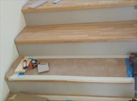 Ступени на метал. лестницу с плинтусами и ограждениями. Ясень 18мм