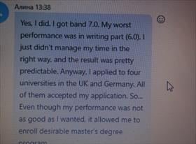 IELTS band of my student